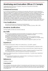 Project Officer Cv Monitoring And Evaluation Officer Cv Sample Myperfectcv