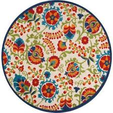 aloha multi 8 ft x 8 ft indoor outdoor round area rug
