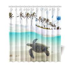 interestprint tropical sand beach palm tree home decor underwater sea turtle polyester fabric shower curtain bathroom sets with hooks