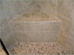 corner shower seat tile and pebble stone floor ceramic corner shower seat