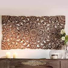 pureday carved wooden wall panel brown