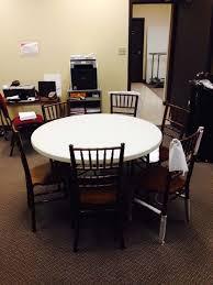 6 wood chiavari chairs around 48 inch table