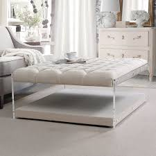 contemporary tufted ottoman coffee table with acrylic sides get an ottoman with a shelf underneath this white linen on tufted dream gives your feet a