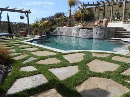 flagstone patio with grass. Raised Bond Beam Pool, Flagstone And Grass Swimming Pool Quality Living Landscape San Marcos, Patio With