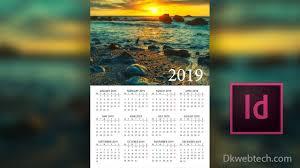 Designing A Calendar In Indesign New Year 2019 Calendar Design In Adobe Indesign In Hindi