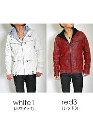 dirt processing hooded pu riders jacket mens riders single hoos leather jacket peacoat outer brother white white red red