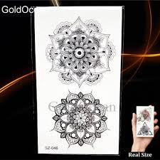 černá Henna Flora Dočasné Tetování Mandala Kompas Ruku Samolepky