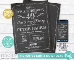 40th Birthday Invitations Surprise 40th Birthday Invitations Forty Invite Chalk Party Instant Download Adult 40 Mens Womens Male Digital Printable Personalize Wcba001