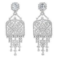 amazing art deco style faux diamond chandelier earrings for
