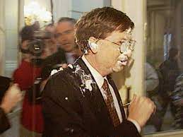 Gates Gets Pied: Bill Gates gets hit with a pie in the face while in  Brussels in 1998 - New York Daily News