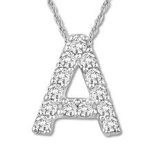 diamond initial a necklace 1 20 ct tw round cut 10k white gold