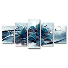Turquoise Lily Flower Canvas Wall Art Modern Print ... - Amazon.com