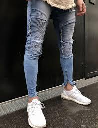 Light Blue Jeans Men S Style Draped Men Pencil Pants Stylish Light Blue Ripped Side Zippers Design Jeans Long Trousers Clothing