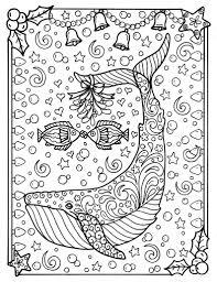 Walvis Kerst Kleurplaat Pagina Volwassen Kleurplaten Zee Leven Strand Coloring Boek