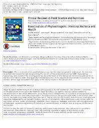 Pdf Bioactivation Of Phytoestrogens Intestinal Bacteria