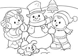 Small Picture Printable Preschool Coloring Pages Winter Season Snowman With Kids