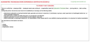 audiometric technician work experience certificate audiometric technician work experience certificate
