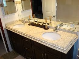 granite for bathroom vanity. bathroom vanity ideas with colonial cream granite top and double sink faucets also large mirror interior paint color for b