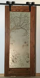Artistic Door Design New Hand Carved Full Glass Art Glass Etched Artistic Barn