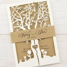 Wedding Invitatiins Laurel Tree With Belly Band Wedding Invitation Pure Invitation