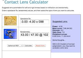 Contact Lens Power Conversion Chart Features