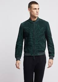 suede leather er jacket with the embroidered leaf from the collection