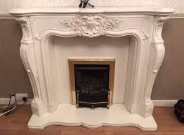 FRENCH LOUISE STYLE MARBLE FIREPLACE, BASE & HEARTH