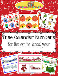 Calendar Numbers For Pocket Chart Full Year Of Calendar Numbers Printable Free Pdfs Wise Owl