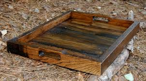 large dark walnut serving tray reclaimed wood tray serving