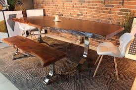 raw edge dining table. Acacia Live Edge Dining Table With Chrome Y Shaped Legs/Honey Walnut - Wazo Furniture Raw T