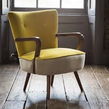 calvin armchair in mustard yellow velvet and linen eta end april