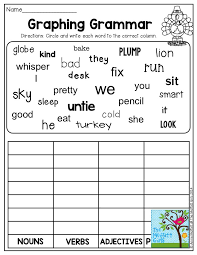 Nouns Verbs Adjectives Worksheet Second Grade | Homeshealth.info
