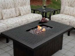 full size of patio ideas propane fire pit coffe table with cream cushion chairs and rectangle