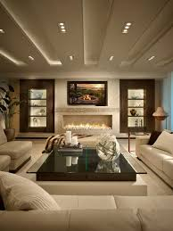 best design living room. example of a trendy white floor living room design in miami with ribbon fireplace and best