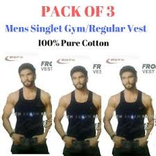 Details About Mens Singlet Cotton Sleeveless Color Gym Casual Vest Pack Of 3 Rupa Frontline