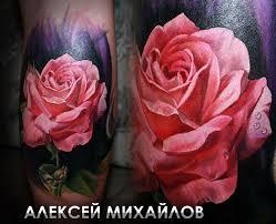 реалистичная цветная татуировка роза в стиле реализм тату мастер