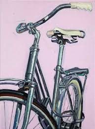 lady spaceliner on pink canvas 7 bicycle paintings prints and custom bike art