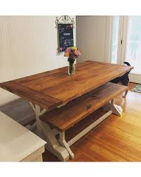 Rustic kitchen table with bench Pinterest Large Farmhouse Table Trestle Table Rustic Table Harvest Table Farmhouse Bench Farmhouse Kitchen Table Dining Table Better Homes And Gardens New Savings On Large Farmhouse Table Trestle Table Rustic Table