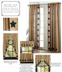 burlap country kitchen curtains burlap natural stencil stars window treatments burlap country curtains french country burlap