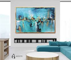 blue teal gold extra large wall art