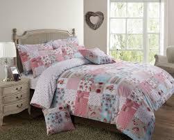pink blue colour patchwork design reversible bedding duvet quilt cover set