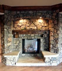 Decorations:Perfect Stone Fireplace Design With Glass Cover Also Wooden  Mantel Plus Benches And Cool