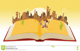 open book with cartoon cowboy kid stock vector ilration of reading america