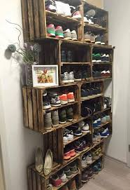shoe rack from rustic crates