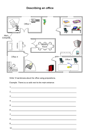 Describing an-office-with-prepositions-worksheet for students.