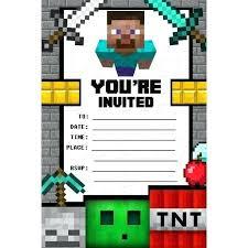 Birthday Party Invitation Card Template Free Minecraft Birthday Party Invitations Templates Birthday Invitation