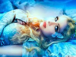 Blue-eyed girl with butterflies HD ...