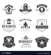 fitness logos templates set vector image