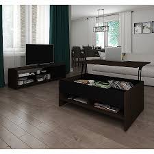 bestar small space 2 piece lift top storage coffee table and tv stand set free