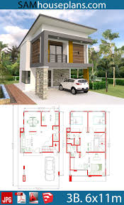 House Plans 6x11m with 3 Bedrooms - Sam House Plans | Model house plan, 2  storey house design, Narrow house plans